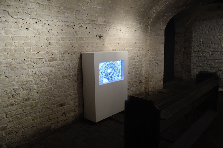 Duncan Poulton - Pygmalion (2016) Installation View no.1 (monoCHROMA, The Crypt Gallery, London, July 2016)