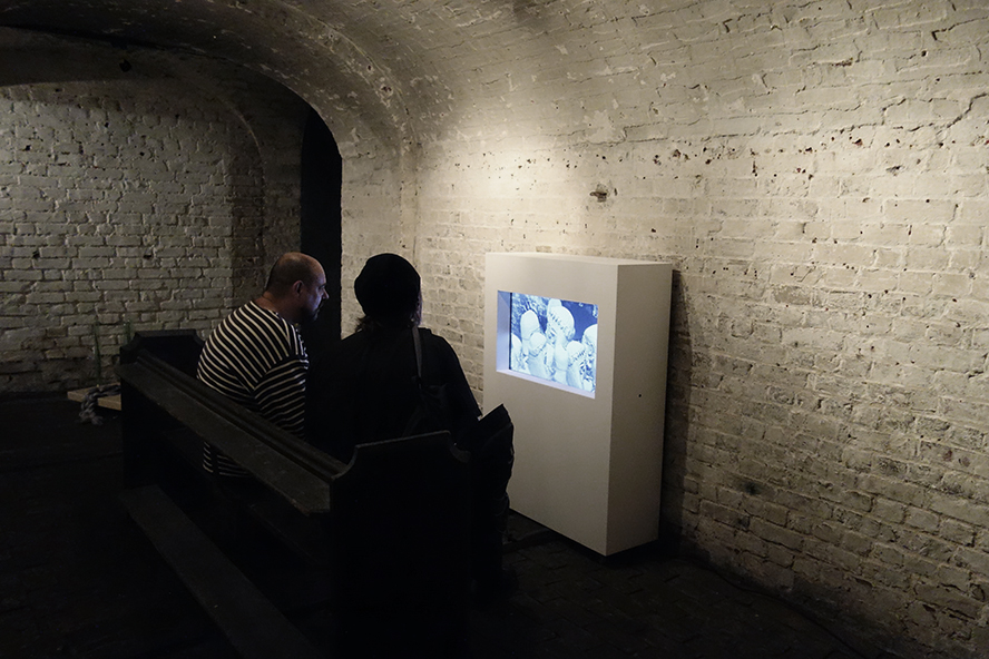 Duncan Poulton - Pygmalion (2016) Installation View no.2 (monoCHROMA, The Crypt Gallery, London, July 2016)